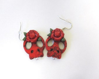 Sugar Skull Earrings Day Of The Dead Jewelry Sliced Red Rose