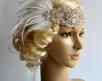 1920's rhinestone pearls flapper headband, Bridal Head Piece, Flapper, Great Gatsby, rhinestones Crystal ribbon bridal wedding Headband