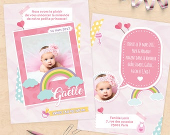 Personalized birth announcement (girl) - scrapbooking or polaroid Collection