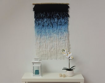 Woven wall hanging, Wall tapestry, Macrame wall hanging, handwoven tapestry, Woven wall decor, Multicolor colorful woven, blue white, Bamboo