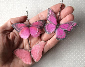 Handmade Butterfly Hair Bobby Pins in Fucsia Pink Cotton and Silk Organza Fabric - 3 pieces