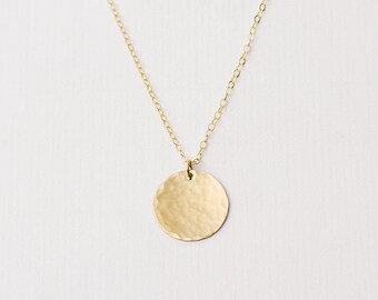 Large hammered gold disc necklace - gold circle necklace - long necklace - large disc necklace - personalised disk - layering necklace