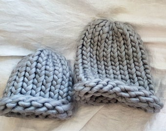Adult and Kid sized super thick, super warm, super grey toques.
