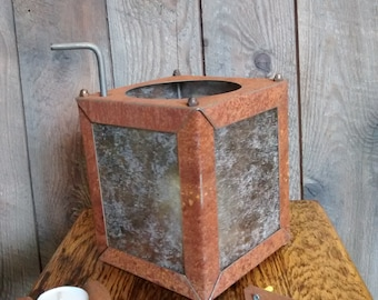 Rustic, metal with silver mica, candle holder, lantern, with unique lift for lighting candle.