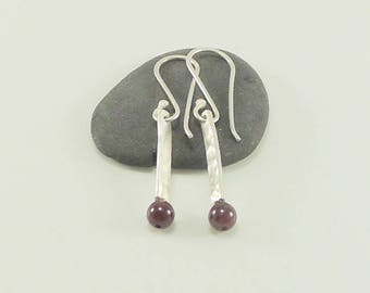 Simple Hammered Silver Rod with Garnet Earrings