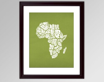 Africa Word Map - A typographic text map of the Countries of Africa - INSTANT DOWNLOAD - 8x10, green