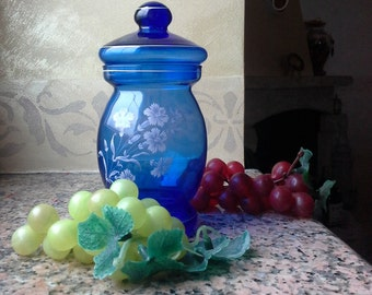 Vintage Blue Glass Container 50's