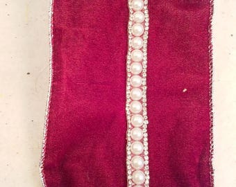 "4"" x 10 yards Maroon Ribbon with Large Faux Pearls and 2 rows of Rhinestones down Center"