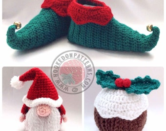 Hooked On Patterns' Christmas Crochet Pattern Bundle Set - Santa Gonk, Elf Slippers, Christmas Pudding - PDF Downloads Only