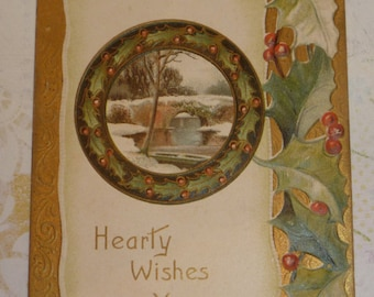 Hearty Wishes With Pretty Holly Antique Christmas Postcard