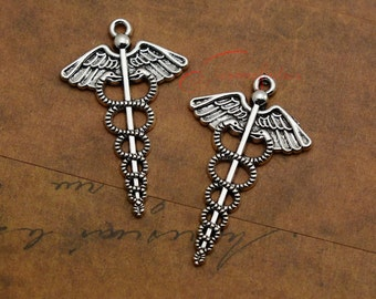 10PCS--49x30mm ,Snake angel Charms, Antique Silver Snake angel Charm pendant, DIY supplies,Jewelry Making