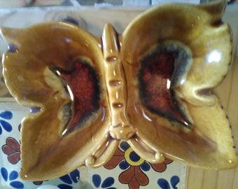 Butterfly Golden Drip Ashtray USA pottery