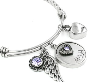 Mom Memorial Bangle Bracelet with Urn, Custom Mom Engraved Name, Mother's Birthstone, Mom Loss Bangle, Heart Cremation Urn