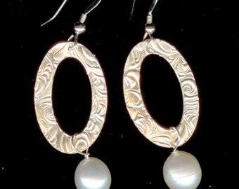 Fine Silver and Freshwater Pearl drop earrings