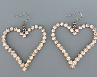 Lovely large crystal heart earrings