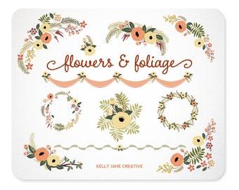 Peach and Green Floral Clip Art | Greenery | Botanical Autumn Flowers | Wedding Wreath |