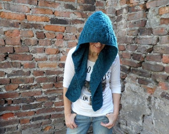 Blue Hooded Scarf, Teal Scoodie, Chunky Cowl, Pixie Hood, Winter Fashion
