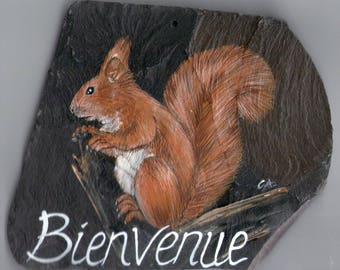 Squirrel plate home entrance or portal slate with animal painting