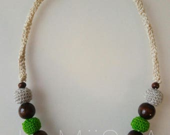 Hemp Necklace and cotton white/green