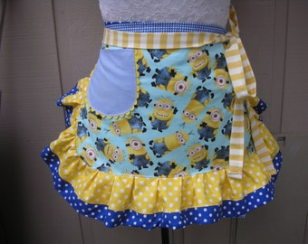 Aprons - Womens Minion Aprons - Universal Despicable Me Apron - Yellow Apron - Annies Attic Aprons - Blue Minions Apron - Half Womens Aprons