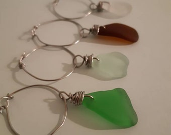 Set of 4 Seaglass Wine Charms