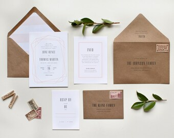 Geometric Wedding Invitation, Modern Wedding Invitations, Geometric Modern Invitation, Striped Envelope Liner, Modern Wedding Invite