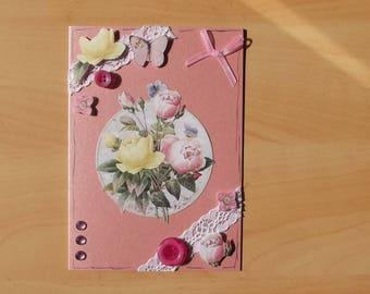 Pink 3D card, handmade.