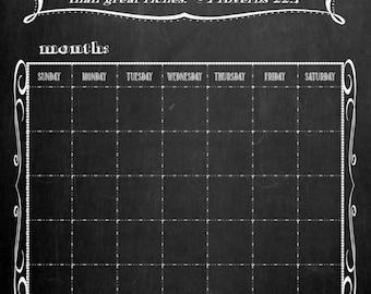 Personalized Custom Made Chalkboard-Look Perpetual Calendar (No Frame)