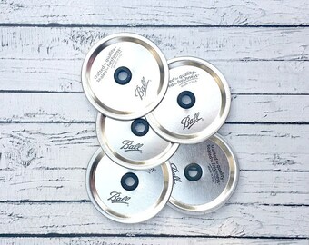 Set of 12 Wide Mouth Mason Jar Lid with Hole and Bands// Mason Jar Lid, Bands and Grommet // Lid for Mason Jar Wide Mouth