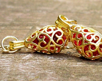 Recycled  1940's Ruby Beer Bottle Gold Earrings