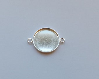 Silver-Plated Round Bezel Link - 20mm - 2 Loop Connector - Mixed Media, Epoxy Clay, Resin, Photo Collage, and More