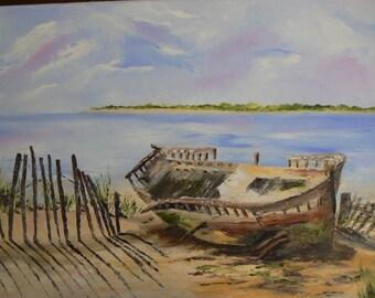 carcass of the ship failed on sand - knife on canvas oil painting