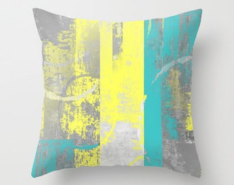 Teal Yellow Pillow Cover, Decorative Pillow, Throw Pillow Cover, Cushion  Cover, Home