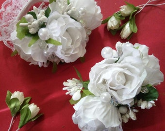 Wedding Wrist Corsage Boutonniere Hair Clip set Floral Bridesmaid White Roses Green Leaves Mother of Bride Bridal cuff Rose Bracelet Prom