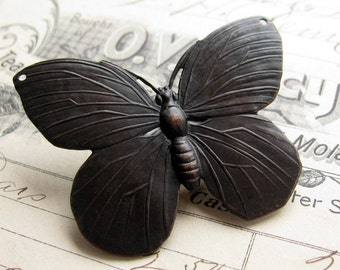 52mm large black butterfly pendant link, antiqued brass, drilled holes, aged patina, lead nickel free, made in the USA, oxidized
