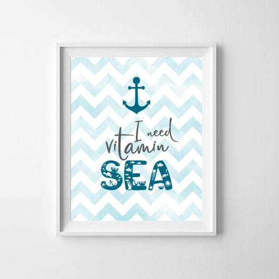 Vitamin Sea, Sea Nursery Print, Nursery Blue Print, Anchor Print, Ocean Print, Nautical Nursery Decor, Boys Room Wall Art, Digital Print