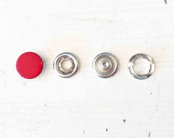 Snaply 10 jersey Press Studs closed Red