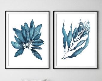 Set Of 2 Sea Coral Print Set DIGITAL DOWNLOADS Art Original Watercolor Painting in Navy Blue -Nautical Wall Art Coastal Print Set Poster #09