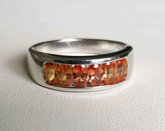 Orange Sapphire Ring, size 9 US, Stacker Ring, 925 Silver, NEW
