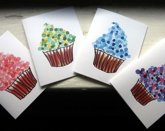 Stationery Cupcake Notecards Watercolor Art Cards (Ed. 4), Set of 4