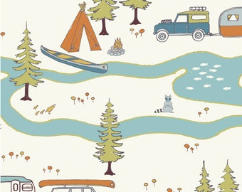 HALF Yard Camp Sur Big Sur Birch Organic Fabrics Camping Hiking JayCyn Woodland Animal OOP Out of Print HTF Hard to Find