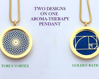 Gold Torus Vortex and Golden Ratio Sacred Geometry Aromatherapy Double Sided Pendant