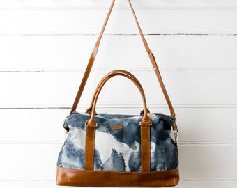 Midnight Ink - Printed Cotton Weekender Bag with Leather Details