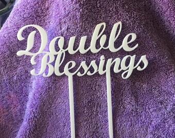 Double Blessings Cake Topper, Baby Shower, Custom Made, Laser Cut