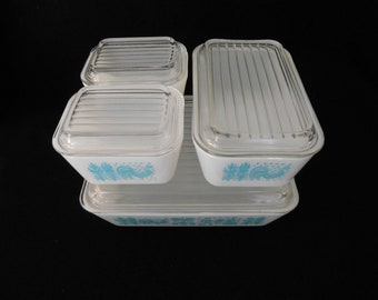 Vintage Pyrex Amish Butterprint Refrigerator Dish Set with Lids Turquoise on White 8 Pieces
