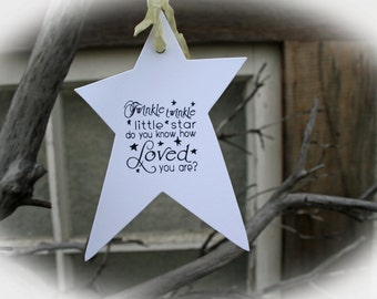 Baby Shower Decor- Baby Shower Wishing Tree Tags Rustic Baby Shower- Twinkle Twinkle do you know how loved you are-White Cardstock