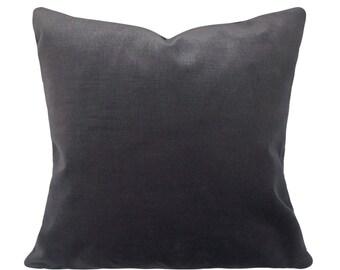 Grey Velvet Pillow Cover - Decorative Pillow - Throw Pillow - Both Sides - 12x16, 12x20, 14x18, 14x24, 18x18, 20x20, 22x22, 24x24, 26x26