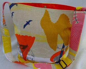 Cross Body BAG, Shoulder Purse, Small Diaper BAG, IKEA, Spring Summer, Orange, Yellow and Gold