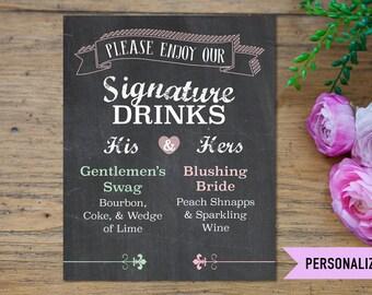 Signature Drink Sign, Wedding Signature Drink Sign, His and Hers Signature Drink Sign, Signature Drink Wedding Printables