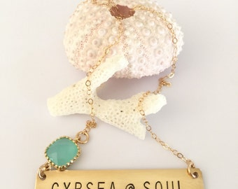GYPSEA SOUL Stamped Bar Nameplate Layering Necklace Bohemian Custom